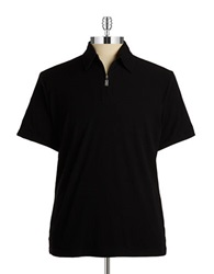 Pure Ribbed Collared Knit Polo Black