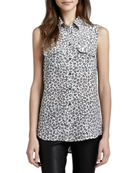 Equipment Signature Leopard Print Sleeveless Blouse Women's