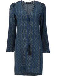 Derek Lam Zigzag Pattern V Neck Dress Blue