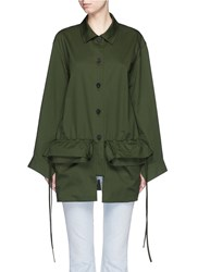 Ports 1961 Oversize Ruffle Patch Pocket Military Jacket Green