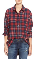 J.O.A. Oversize Plaid Button Front Shirt Red