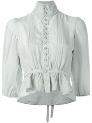 Dsquared2 'Victorian' High Collar Blouse Green