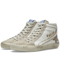Golden Goose Deluxe Brand Slide Leather And Suede Sneaker White