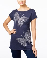 Inc International Concepts Embroidered Butterfly T Shirt Only At Macy's Deep Twilight