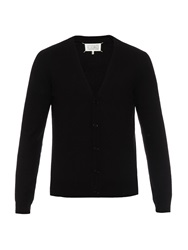 Maison Martin Margiela Leather Elbow Patches Wool Knit Cardigan
