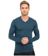 Ted Baker Cashguy Long Sleeve Cashmere Blend V Neck Teal Men's T Shirt Blue