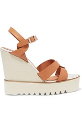 Paloma Barcelo Ceralin Leather Wedge Sandals Brown