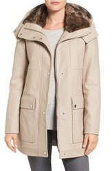 Kenneth Cole Women's New York Wool Blend Parka With Faux Fur Lined Hood Twig