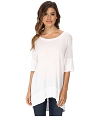 Michael Stars Luxe Slub Elbow Sleeve Scoop Neck High Low Top White Women's Short Sleeve Pullover