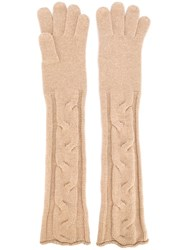 Loro Piana Long Knitted Gloves Brown