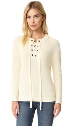 J.O.A. Lace Up Sweater Ivory