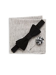 Original Penguin Three Piece Solid Bow Tie Lapel Pin And Textured Pocket Square Set Black