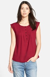 Women's Ace Delivery Print Henley Top Red Dot