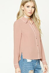 Forever 21 Buttoned Contrast Trimmed Shirt