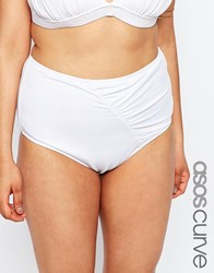 Asos Curve Mix And Match Highwaist Bikini Bottom With Wrapped Front And Support White