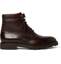 John Lobb Alder Pannelled Leather Boots Dark Brown