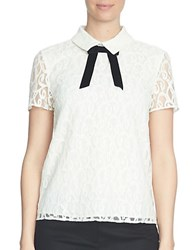 Cece Solid Lace Short Sleeve Blouse White