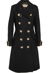 Burberry Leather Trimmed Double Breasted Wool Blend Coat Black