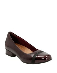Clarks Keesha Rosa Leather Cap Toe Pumps Aubergine