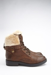 Forever 21 Faux Fur Lined Combat Boots Brown