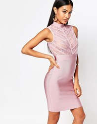 Wow Couture High Neck Bandage Bodycon Dress With Sheer Lace Bodice Blush Pink