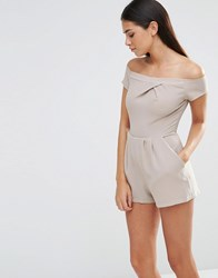 Love Off The Shoulder Playsuit Taupe Beige