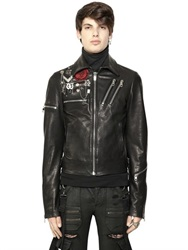 Diesel Black Gold Leather Moto Jacket With Metal Details