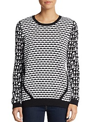 Saks Fifth Avenue Red Cotton Cutout Back Sweater Black White