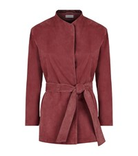 Reiss Willow Suede Wrap Jacket Female Pink