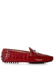 Tod's Gommini Reptile Effect Leather Loafers Red