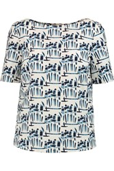 Tory Burch Printed Stretch Cotton Poplin Top Blue