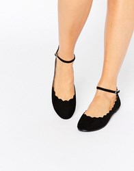 London Rebel Scallop Edge Ankle Strap Ballerina Black Micro