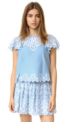 Parker Tier Embroidered Top Chambray
