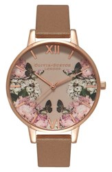 Olivia Burton Women's 'Enchanted Garden' Leather Strap Watch 38Mm Taupe Taupe