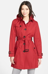 Michael Michael Kors Single Breasted Raincoat Regular And Petite Dark Red