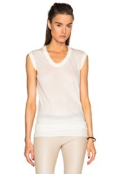Rick Owens Unstable Cotton V Neck Sleeveless Tee In White