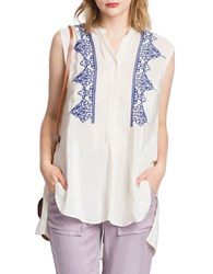 Plenty By Tracy Reese Contrast Embroidered Tunic Tapioca