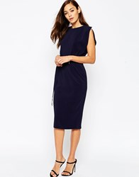 Asos Belted Midi Dress With Split Cap Sleeve And Pencil Skirt Navy