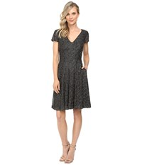 Badgley Mischka All Over Beaded Fit And Flare With Pockets Smoke Women's Dress Gray