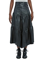 Saint Laurent Long Tiered Leather Skirt Black