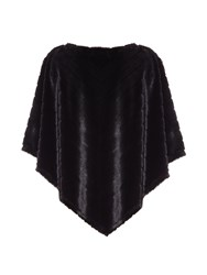 Mela Loves London Draped Fur Poncho Black