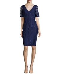 Laundry By Shelli Segal V Neck Lace Double Knit Dress Inkblot