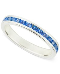 Macy's Blue Topaz Accent Band In Sterling Silver