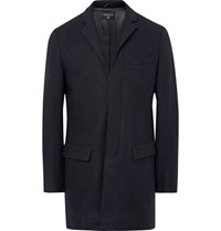 Tomorrowland Melton Wool Blend Overcoat Midnight Blue