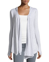 Minnie Rose Cotton Hooded Open Front Duster Cardigan Light Heather Gray
