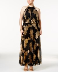 Msk Plus Size Metallic Print Pleated Blouson Halter Gown Black Gold
