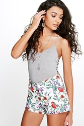 Boohoo Tropical Floral Woven Shorts Cream