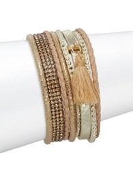 Design Lab Lord And Taylor Tassel Accented Multi Row Magnetic Bracelet Gold