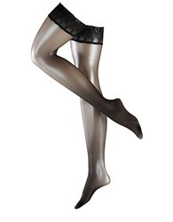 Falke Lunelle 8 Feather Embroidered Shimmering Sheer Stay Up Thigh High Tights Black