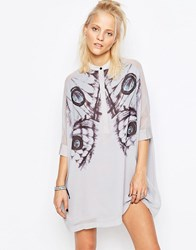 Religion Fatigue Shirt Dress In Digital Print Paloma Grey